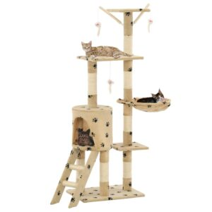 Árvore para gatos c/postes arranhadores sisal 138 cm bege - PORTES GRÁTIS