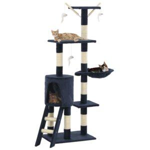 Árvore p/ gatos c/ postes arranhadores sisal 138 cm azul escuro - PORTES GRÁTIS