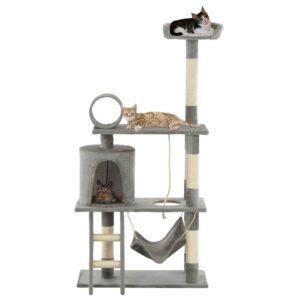 Árvore para gatos c/ postes arranhadores sisal 140 cm cinzento - PORTES GRÁTIS