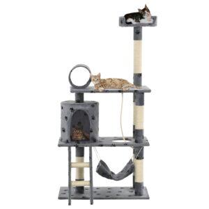 Árvore para gatos c/postes arranhadores sisal 140 cm cinzento - PORTES GRÁTIS