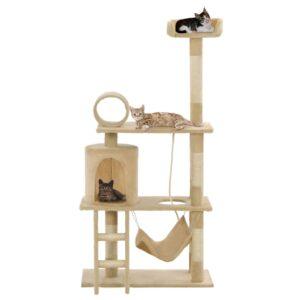 Árvore para gatos c/ postes arranhadores sisal 140 cm bege - PORTES GRÁTIS