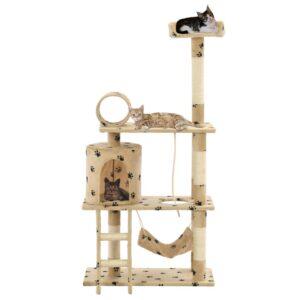 Árvore para gatos c/postes arranhadores sisal 140 cm bege - PORTES GRÁTIS