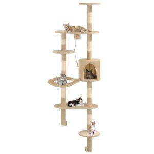Árvore para gatos de parede c/ arranhadores sisal 194 cm bege - PORTES GRÁTIS
