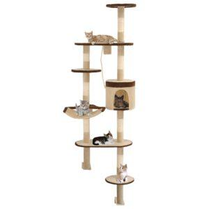 Árvore p/ gatos parede arranhadores sisal 194 cm bege/castanho - PORTES GRÁTIS