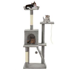 Árvore p/ gatos c/ postes arranhadores sisal 120 cm cinzento - PORTES GRÁTIS