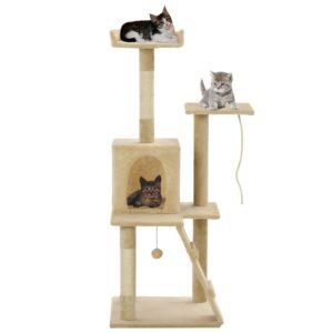 Árvore para gatos c/ postes arranhadores sisal 120 cm bege - PORTES GRÁTIS