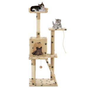 Árvore para gatos c/postes arranhadores sisal 120 cm bege - PORTES GRÁTIS
