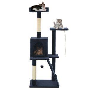 Árvore p/ gatos c/ postes arranhadores sisal 120 cm azul escuro - PORTES GRÁTIS
