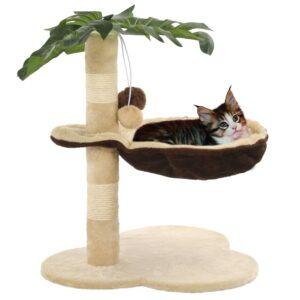 Árvore p/ gatos c/postes arranhadores sisal 50 cm bege/castanho - PORTES GRÁTIS