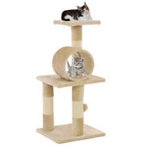 Árvore para gatos c/ postes arranhadores sisal 65 cm bege - PORTES GRÁTIS