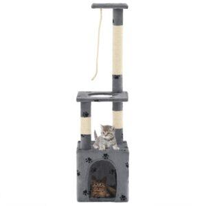 Árvore para gatos c/postes arranhadores sisal 109 cm cinzento - PORTES GRÁTIS