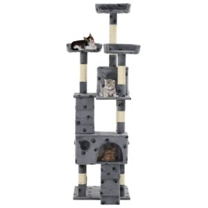Árvore para gatos c/ postes arranhadores sisal 170 cm cinzento - PORTES GRÁTIS