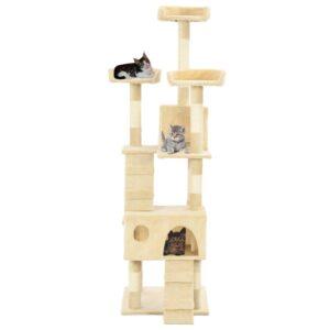 Árvore para gatos c/ postes arranhadores sisal 170 cm bege - PORTES GRÁTIS