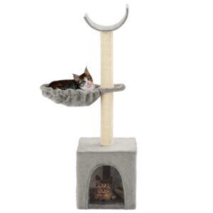 Árvore para gatos c/ postes arranhadores sisal 105 cm cinzento - PORTES GRÁTIS