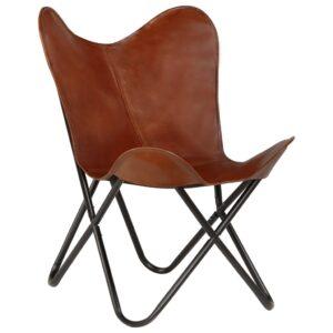 Cadeira borboleta em couro genuíno castanho tamanho infantil -  PORTES GRÁTIS