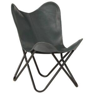 Cadeira borboleta em couro genuíno cinzento -  PORTES GRÁTIS