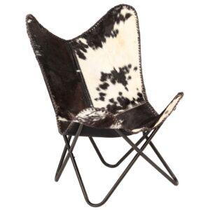 Cadeira borboleta em couro de cabra genuíno preto e branco - PORTES GRÁTIS