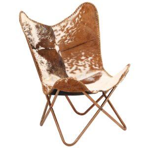 Cadeira borboleta em couro de cabra genuíno castanho e branco -  PORTES GRÁTIS