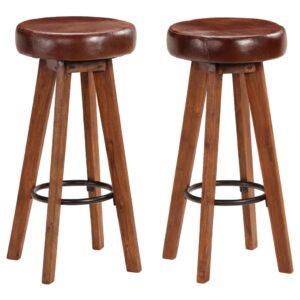 Cadeiras bar 2 pcs acácia maciça e couro genuíno 45x45x76 cm - PORTES GRÁTIS