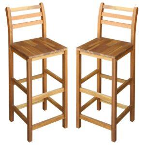 Cadeiras de bar 2 pcs madeira de acácia maciça 42x36x110 cm - PORTES GRÁTIS
