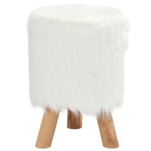 Banco em pêlo sintético redondo 28x40 cm branco - PORTES GRÁTIS