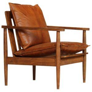 Poltrona em couro genuíno com madeira de acácia castanho -  PORTES GRÁTIS