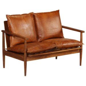 Sofá de 2 lugares couro genuíno c/ madeira de acácia castanho -  PORTES GRÁTIS