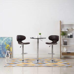 Cadeiras de bar 2 pcs couro artificial castanho - PORTES GRÁTIS