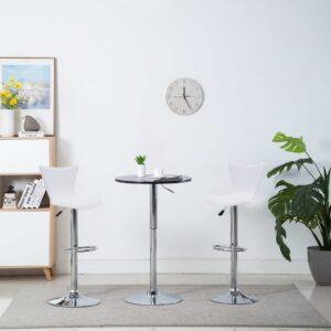 Cadeiras de bar giratórias 2 pcs couro art. 40x47x105 cm branco - PORTES GRÁTIS