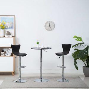 Cadeiras de bar giratórias 2 pcs couro art. 40x47x105 cm preto - PORTES GRÁTIS