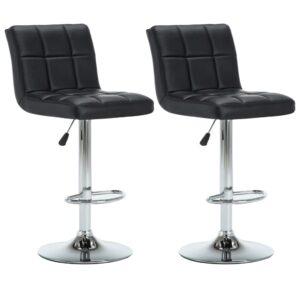Cadeiras de bar giratórias 2 pcs couro art. 44x50x115 cm preto - PORTES GRÁTIS