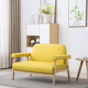 Sofá de 2 lugares em tecido amarelo -  PORTES GRÁTIS