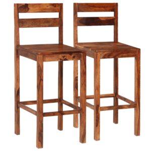 Cadeiras de bar 2 pcs madeira sheesham maciça castanho - PORTES GRÁTIS