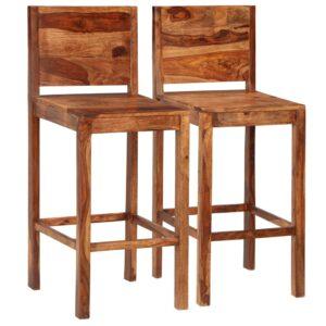 Cadeiras de bar 2 pcs madeira de sheesham maciça castanho - PORTES GRÁTIS