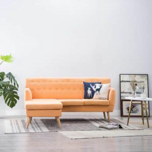 Sofá em tecido c/ forma de L 171,5x138x81,5 cm laranja -  PORTES GRÁTIS
