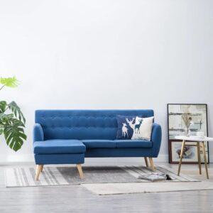 Sofá em tecido c/ forma de L 171,5x138x81,5 cm azul - PORTES GRÁTIS