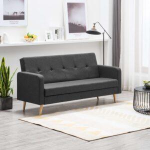 Sofá em tecido cinzento escuro - PORTES GRÁTIS