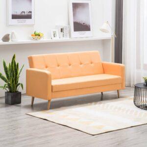 Sofá em tecido amarelo - PORTES GRÁTIS