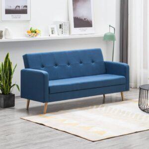 Sofá em tecido azul - PORTES GRÁTIS