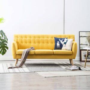 Sofá de 3 lugares estofos de tecido 172x70x82 cm amarelo - PORTES GRÁTIS