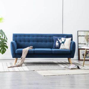 Sofá de 3 lugares estofos de tecido 172x70x82 cm azul - PORTES GRÁTIS
