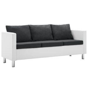 Sofá de 3 lugares em couro artificial branco e cinzento escuro - PORTES GRÁTIS