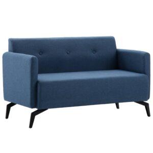 Sofá de 2 lugares estofos de tecido 115x60x67 cm azul - PORTES GRÁTIS