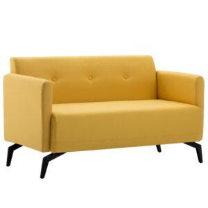 Sofá de 2 lugares estofos de tecido 115x60x67 cm amarelo - PORTES GRÁTIS