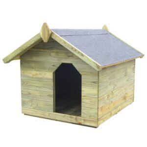 Casota para cão com telhado de abrir pinho impregnado FSC - PORTES GRÁTIS