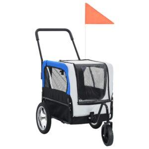 Reboque bicicletas/carrinho para animais 2-em-1 cinzento e azul - PORTES GRÁTIS