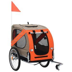 Reboque de bicicletas para cães laranja e castanho - PORTES GRÁTIS