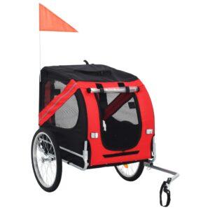 Reboque de bicicletas para cães vermelho e preto - PORTES GRÁTIS