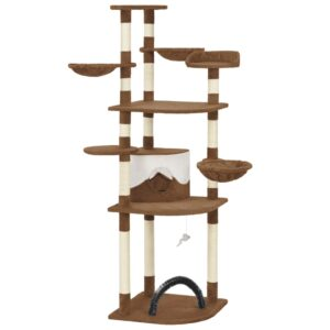 Árvore para gatos com postes arranhadores sisal castanho 190 cm - PORTES GRÁTIS