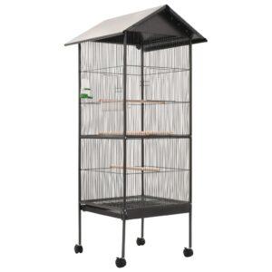 Gaiola para pássaros com telhado 66x66x155 cm aço cinzento - PORTES GRÁTIS